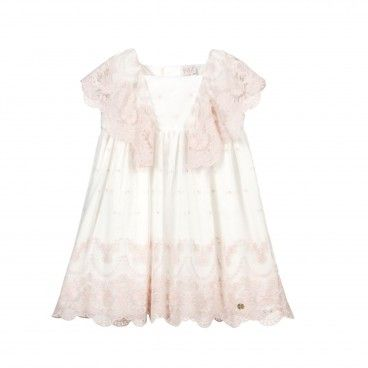 Girls Ivory & Pink Embroidery Dress