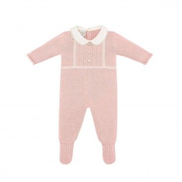 Powder Pink Knitted Babygrow