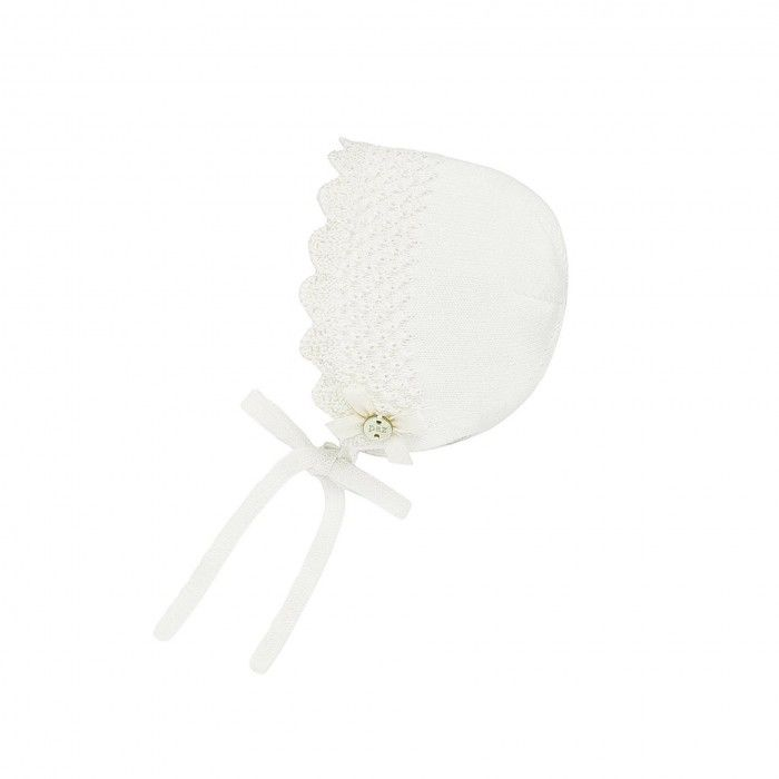 Ivory Knitted Baby Bonnet