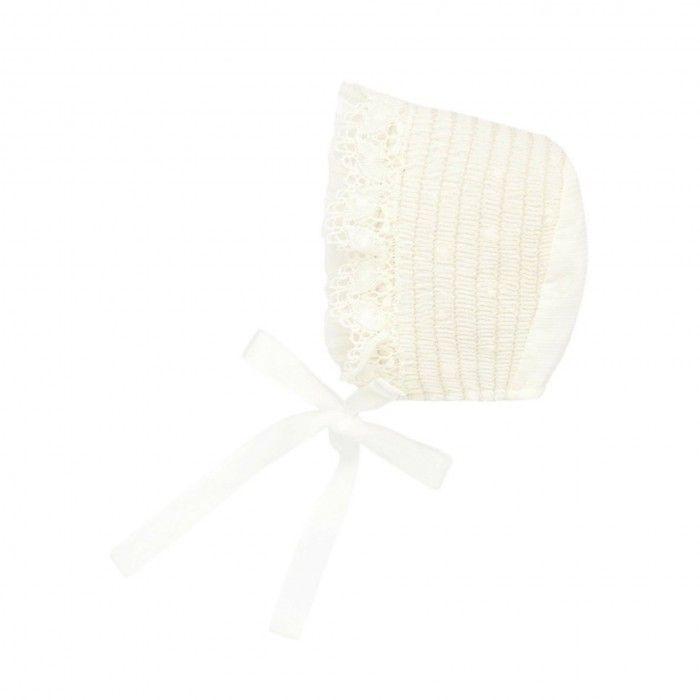 Ivory Smocked Baby Bonnet