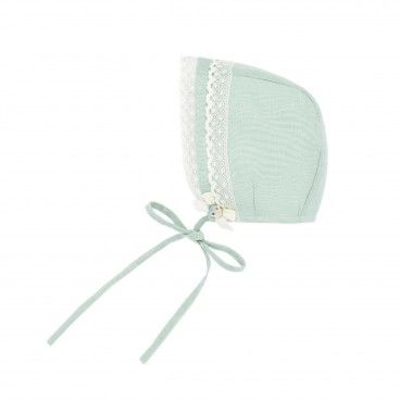 Mint Green Linen Bonnet