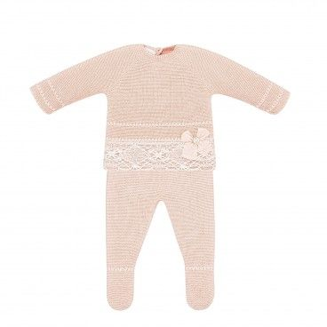 Tangerine Cotton Knit Babysuit
