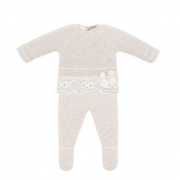 Beige Cotton Knit Babysuit
