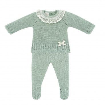 Mint Green Knitted 2 Piece Babygrow