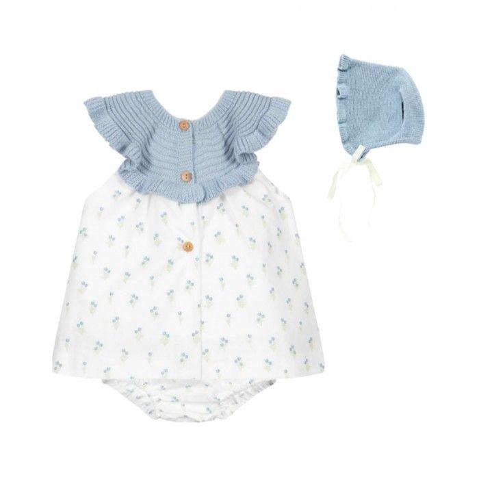 White & Blue Cotton Dress Set