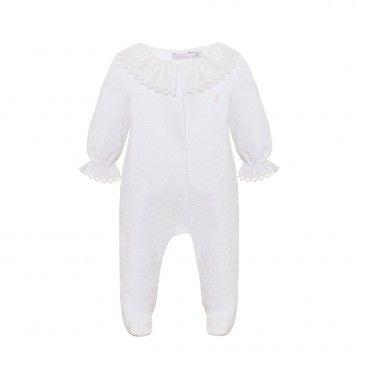 White Dots Cotton Babysuit