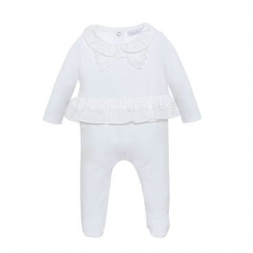 Baby Girls White Bow Babygrow