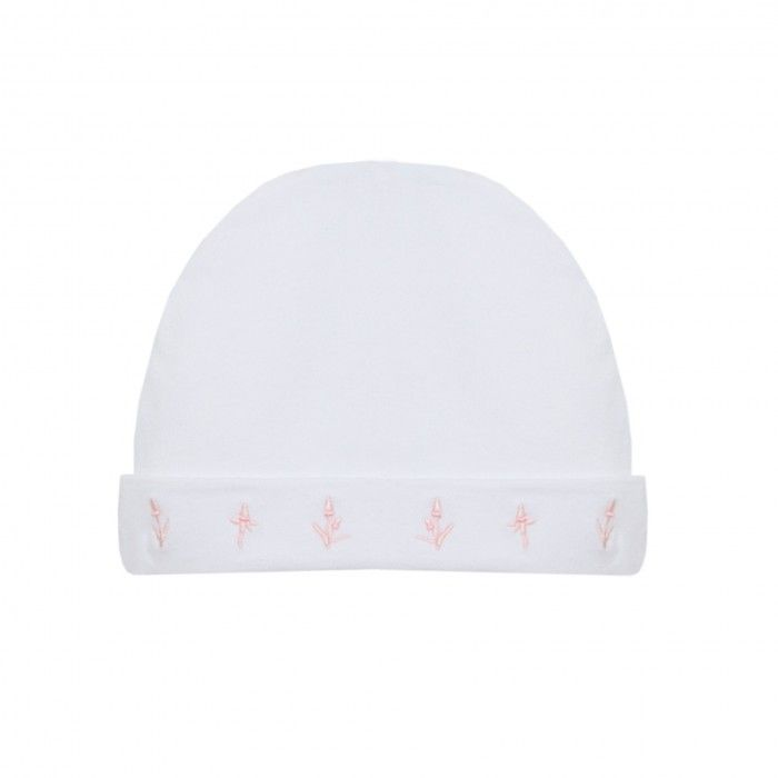 White & Pink Dots Baby Hat