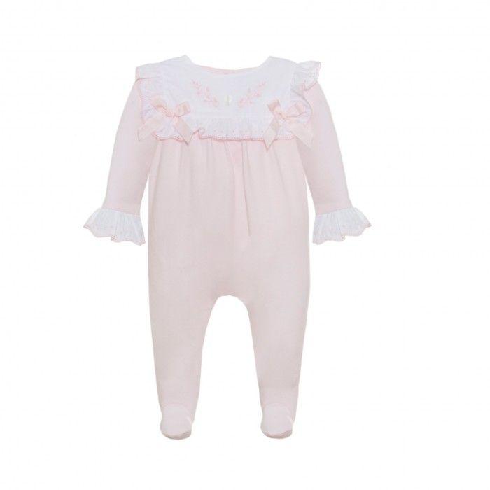 Pink & White Cotton Babysuit