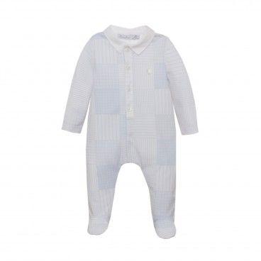 Patachou Blue Print Cotton Babysuit