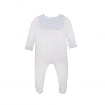 White & Blue Vichy Babysuit