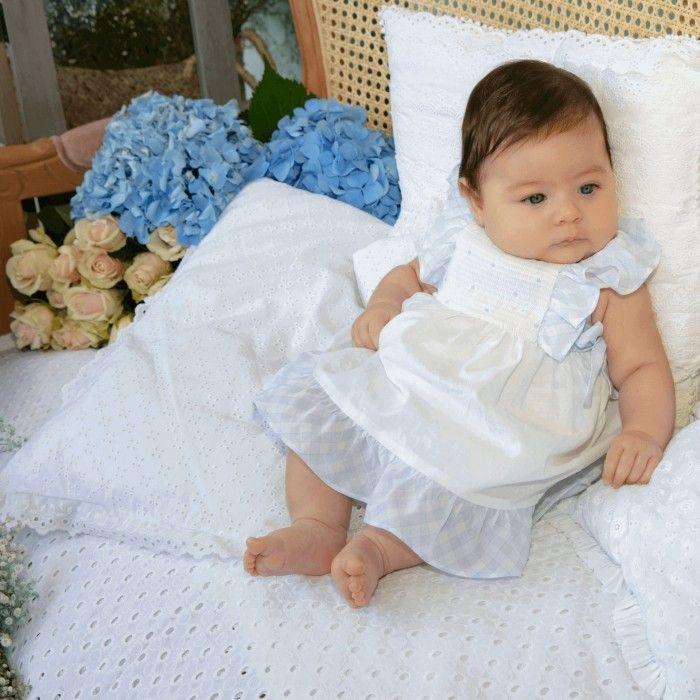 Vestido Branco & Azul Vichy