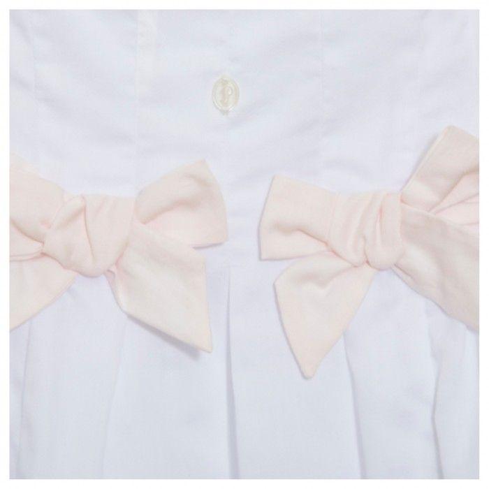 Vestido Algodão Branco & Laço Rosa