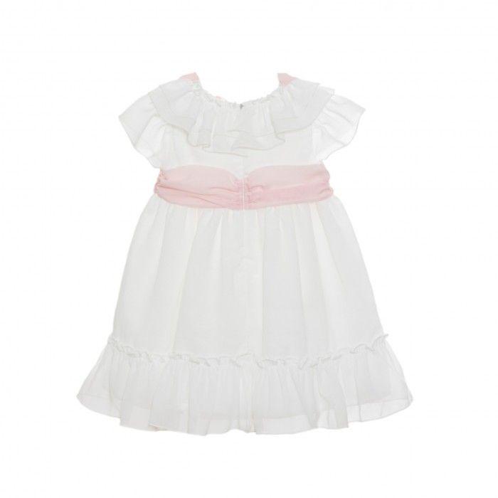 White & Pink Chiffon Dress