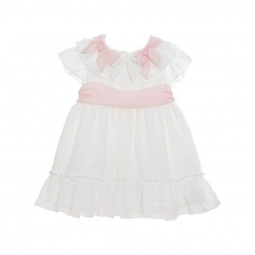 White & Pink Chiffon Dress