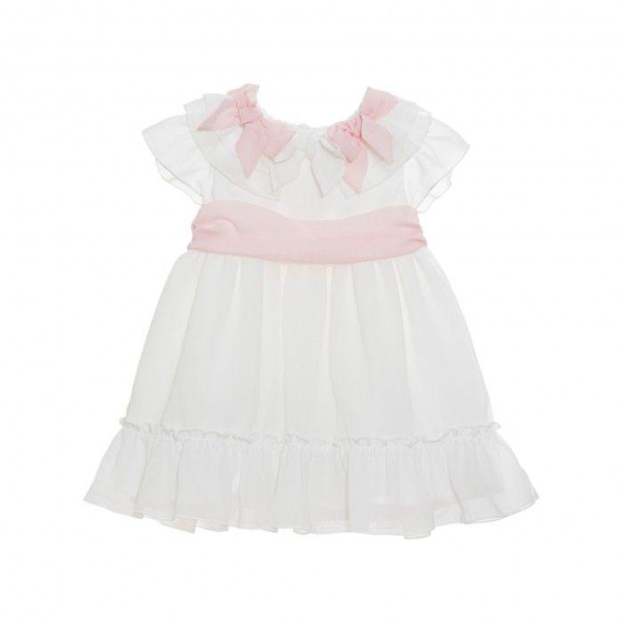Vestido Menina Branco & Rosa