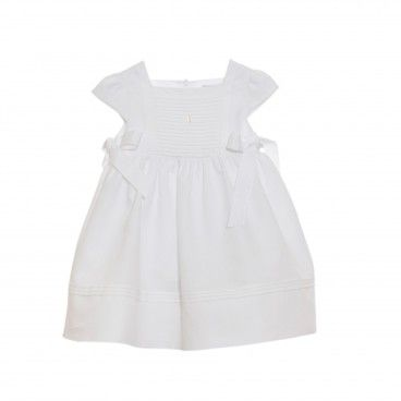 Girls White Cotton Linen Dress
