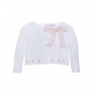 White & Pink Rose Cardigan