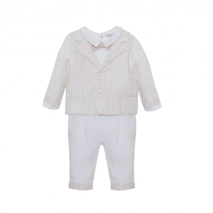 Beige Striped Cotton Suit
