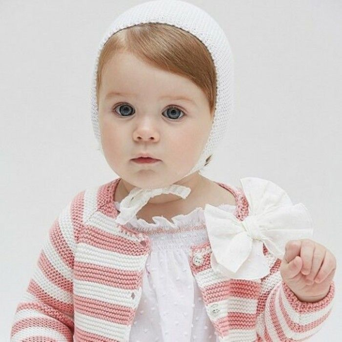 Nanos Ivory Knitted Baby Bonnet