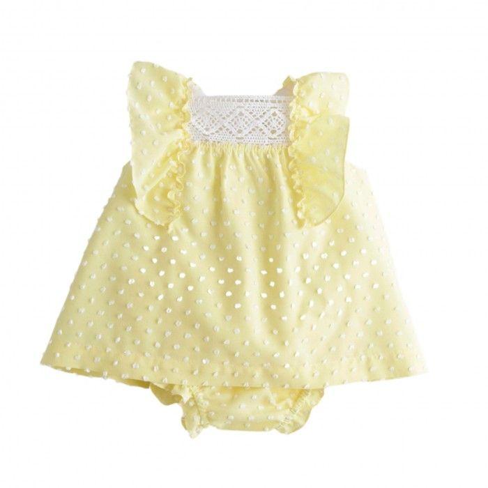 Baby Dot Yellow Dress Set