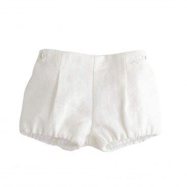 Nanos Ivory Linen Shorts