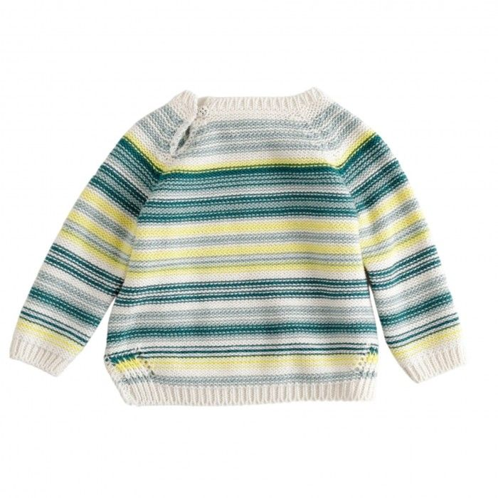 Green Knitted Striped Jumper
