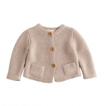 Beige Knitted Cotton Cardigan