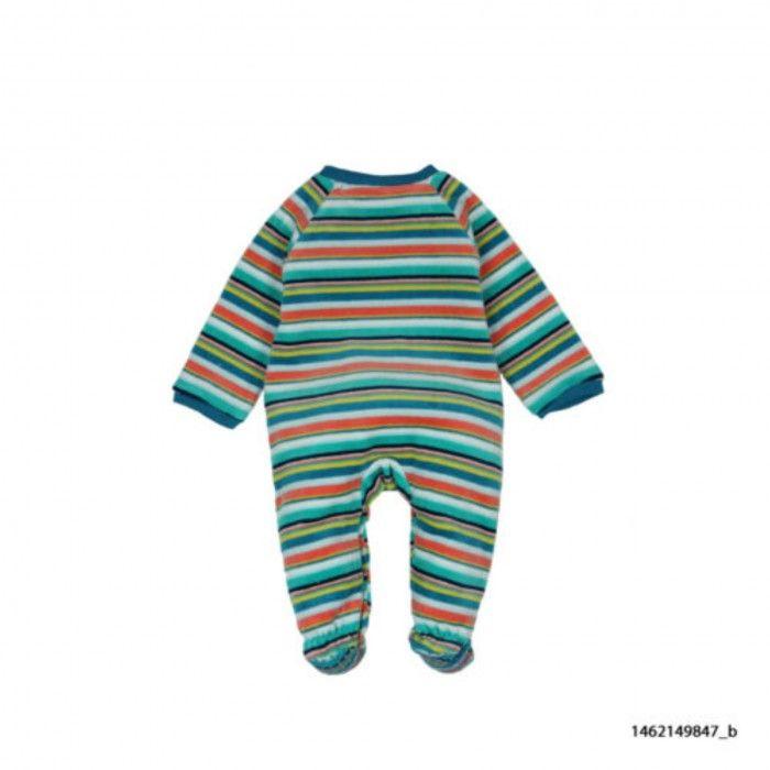 Stripes Velour Babygrow