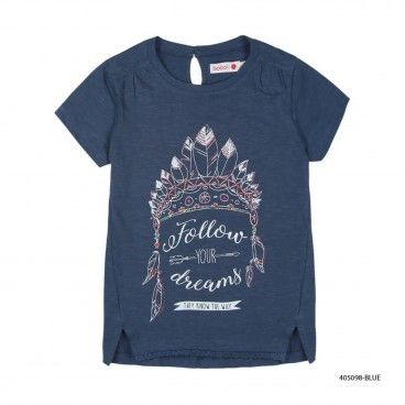 Girls Blue Cotton T-Shirt