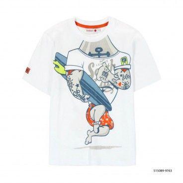 T-Shirt Algodão Branca Menino