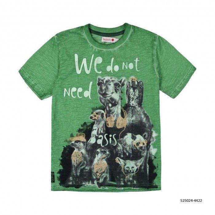 T-Shirt Algodão Verde Menino
