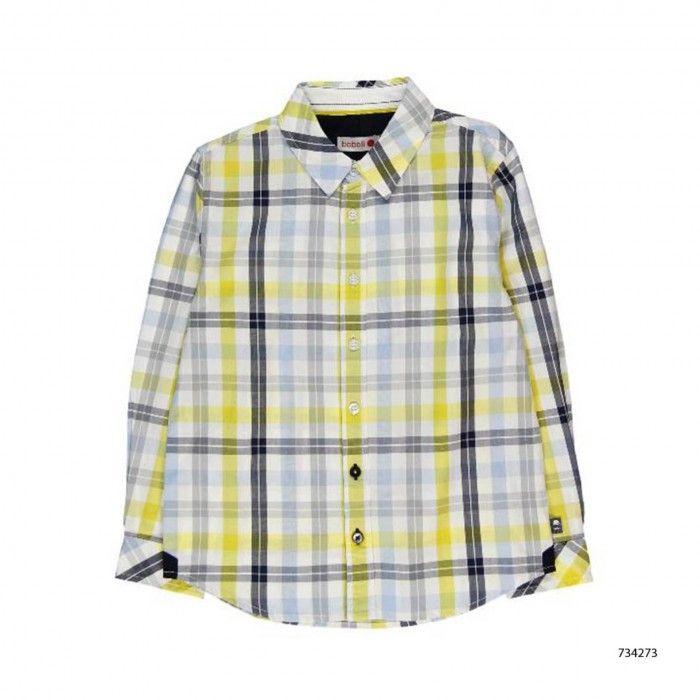 Yellow & Navy Check Poplin Shirt