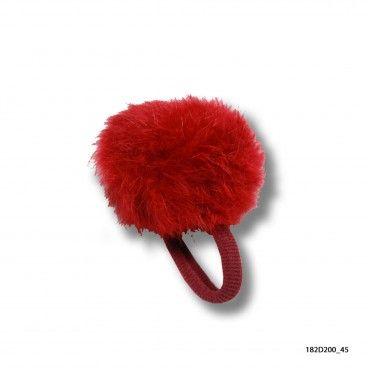 Elástico Menina Vermelho com Pom-Pom