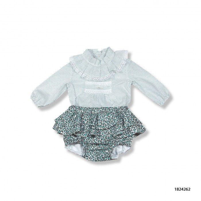 Baby Girl Green Printed Set