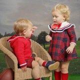 Red & Blue Wool Blend Dress
