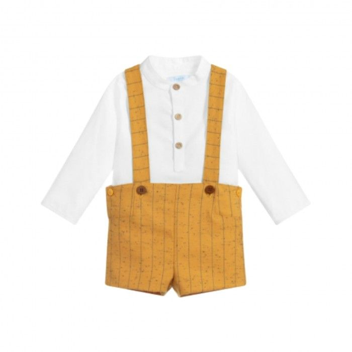 White & Mustard Shorts Set