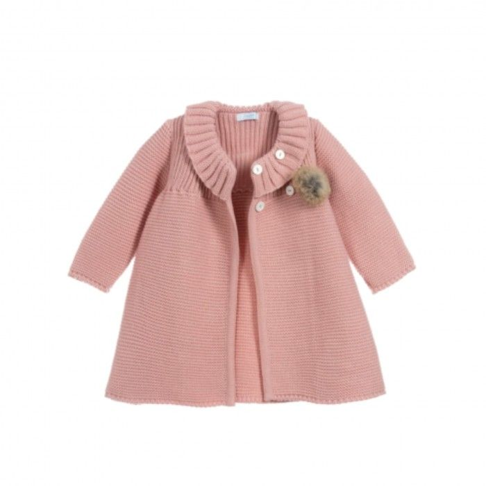 Pink Knitted Coat & Hat Set