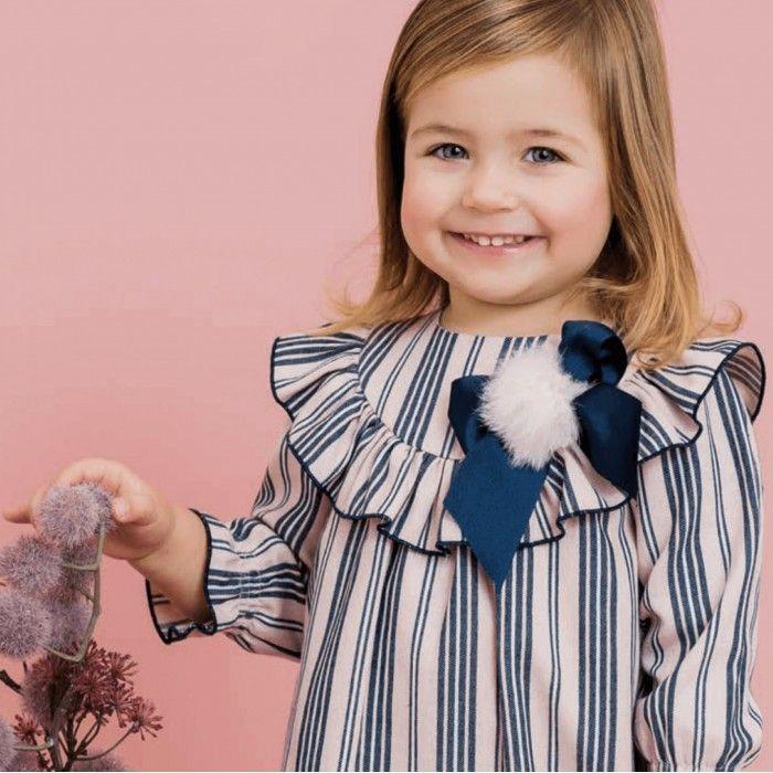 Vestido Rosa & Azul Riscas
