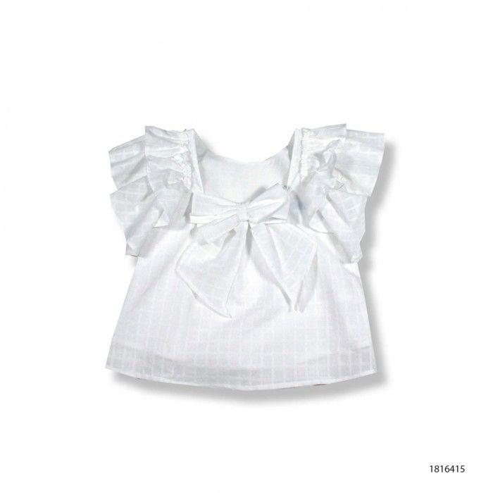 Blusa Algodão Branca Folhos