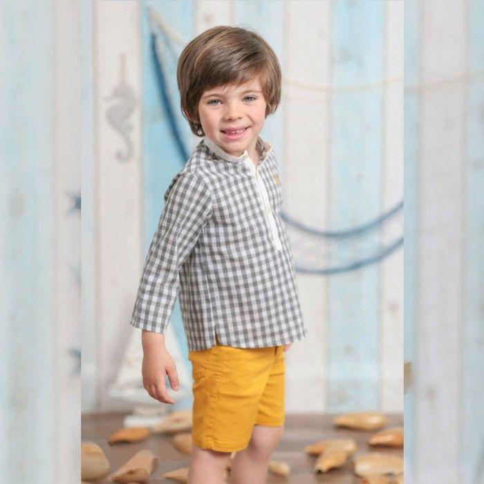 Boys Mustard Cotton Shorts Set