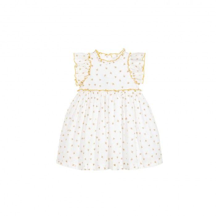 White & Mustard Dress
