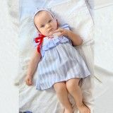 Blue Striped Dress Set
