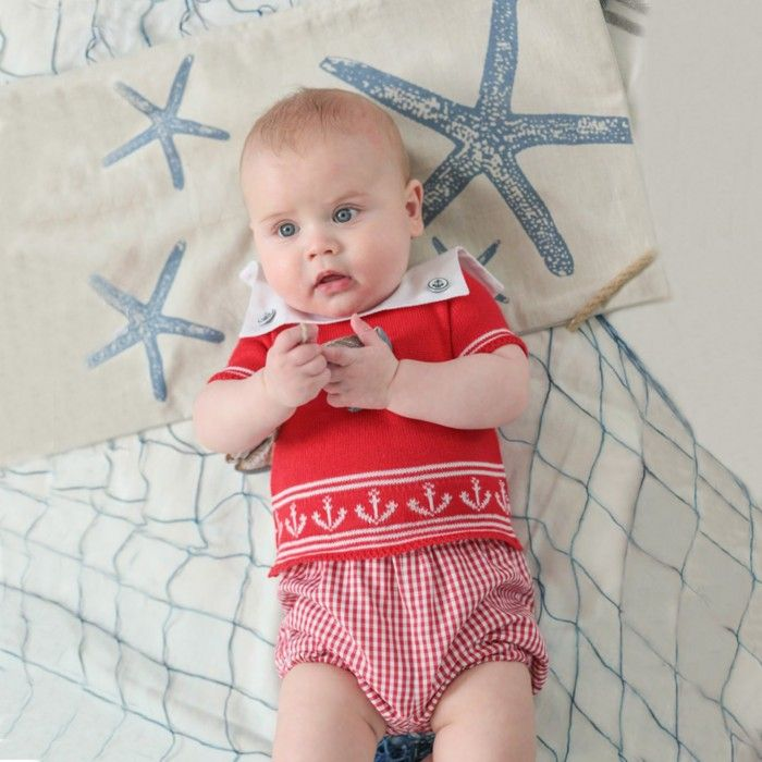 Red Knitted Cotton Shirt & Shorts