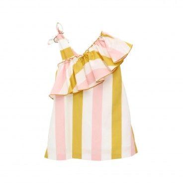 Girls Striped Cotton Dress