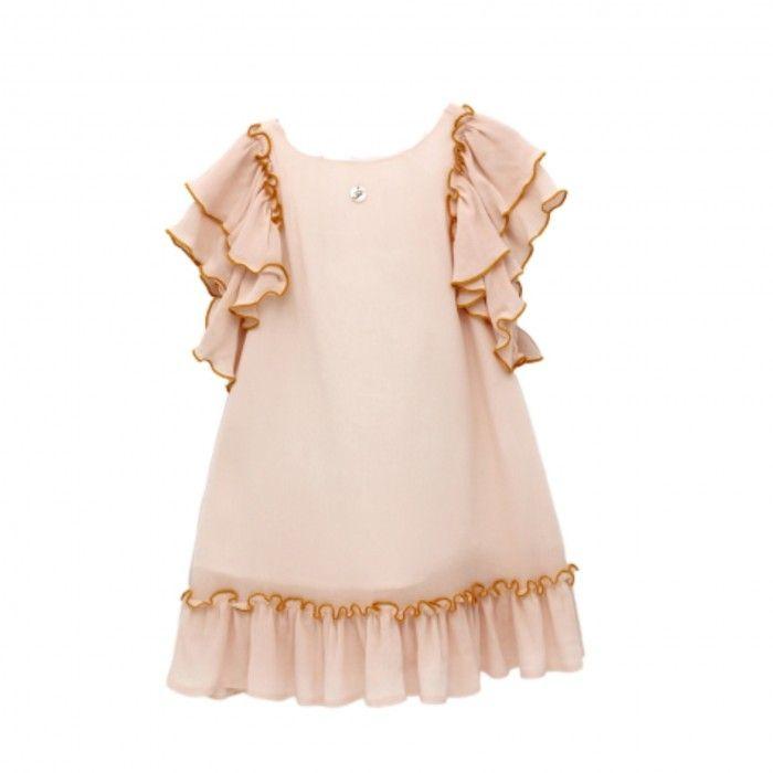 Girls Pink & Mustard Cotton Dress