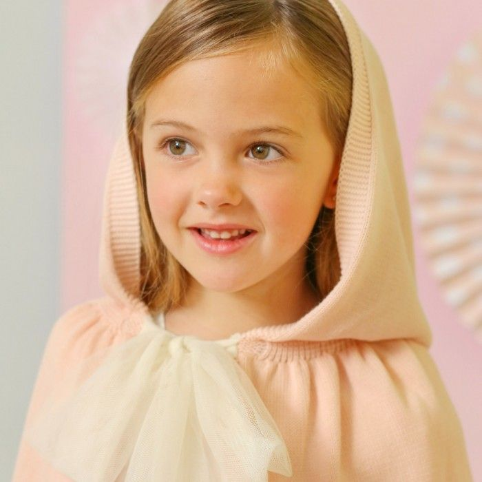 Foque Beige Pink Knitted Cape