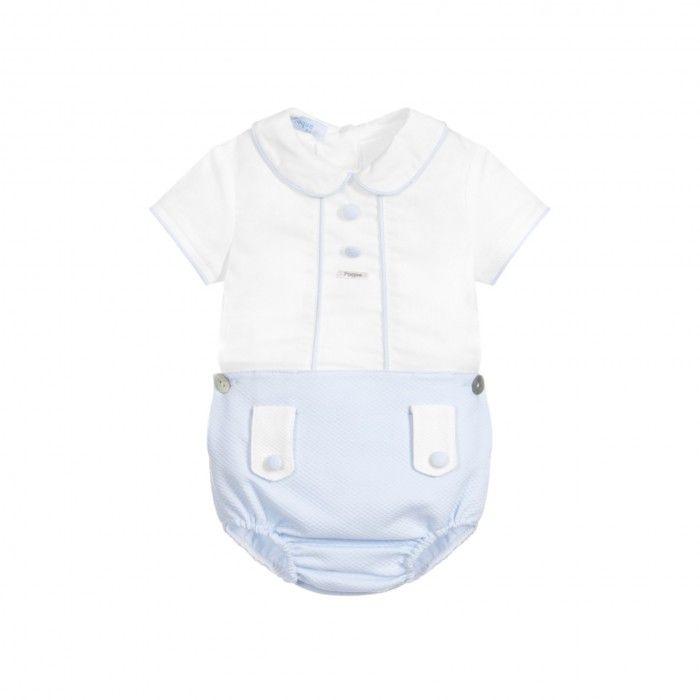 White & Blue Baby Boy Shorts Set