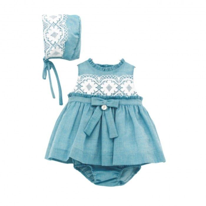 Girls Blue Cotton Dress Set