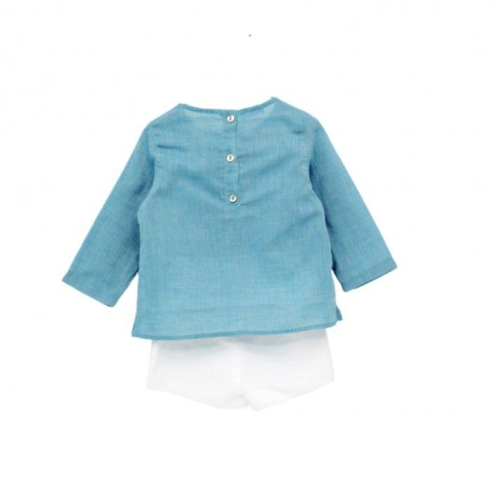 Turquoise & Ivory Linen Shorts Set